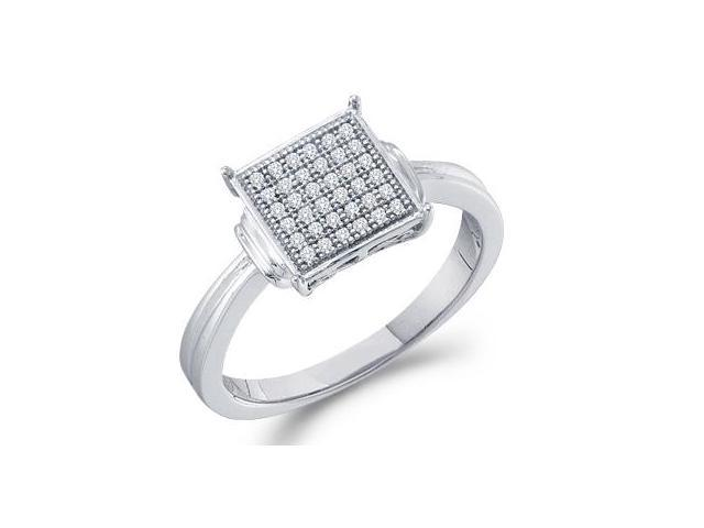 Diamond Anniversary Ring 10k White Gold Micro Pave Set (1/10 Carat)