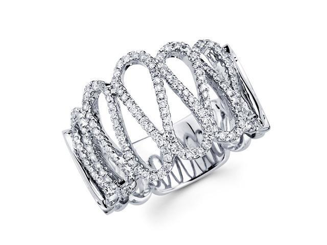 Diamond Anniversary Ring 14k White Gold Waved Ribbon Fashion (1/2 CTW)