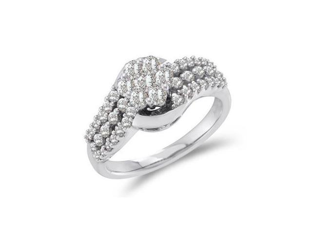 Cluster Diamond Ring 14k White Gold Engagement Bridal (3/4 Carat)
