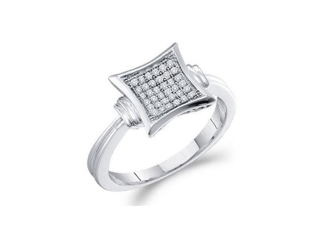 Diamond Anniversary Ring 10k White Gold Micro Pave (1/10 Carat)