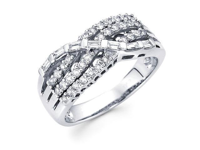 Diamond Anniversary Ring 14k White Gold Multi Line Fashion Band 1/2ct