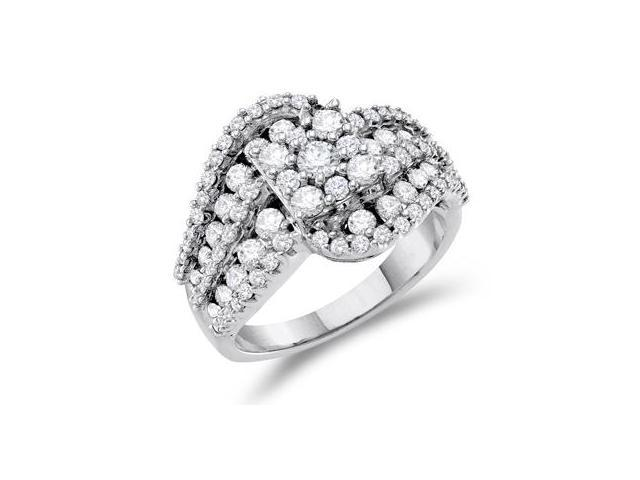 Cluster Diamond Ring 14k White Gold Anniversary Bridal (2.00 Carat)