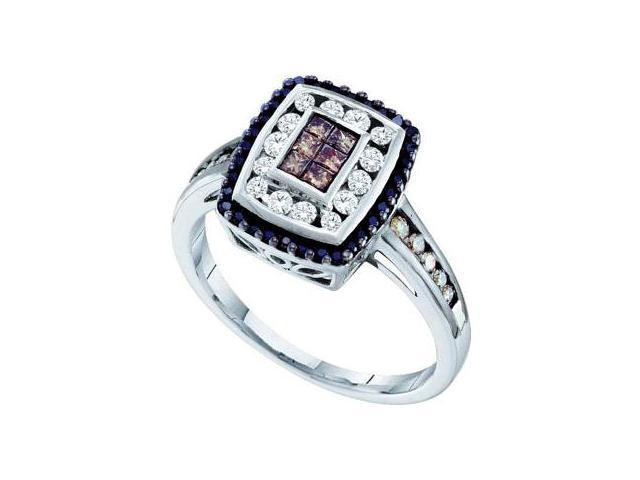 Black & Champagne Diamond Ring 14k White Gold Band (1/2 Carat)