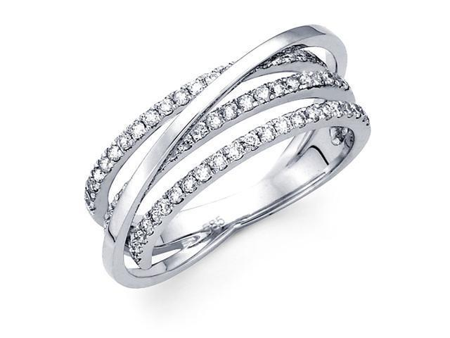 Diamond Anniversary Ring 14k White Gold Multi Line Fashion Band 1/2 CT