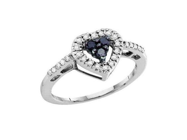 Black Diamond Heart Ring 14k White Gold Womens Band (1/3 Carat)