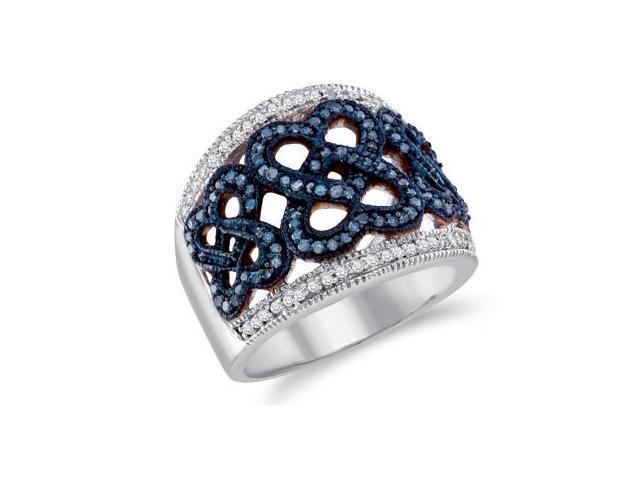 Blue Diamond Band 10k White Gold Anniversary Ring (1/2 Carat)