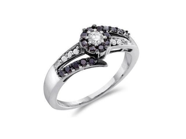 Black Diamond Ring 14k White Gold Womens Anniversary Band (1/2 Carat)
