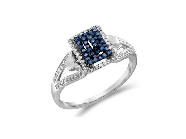 Aqua Blue Diamond Anniversary Ring 10k White Gold (0.16 Carat)