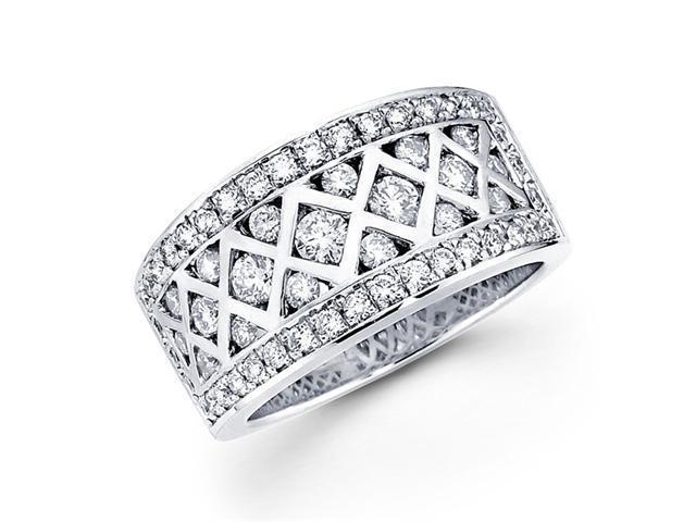 Diamond Anniversary Ring 14k White Gold Fancy Fashion Band 1.24 Carat