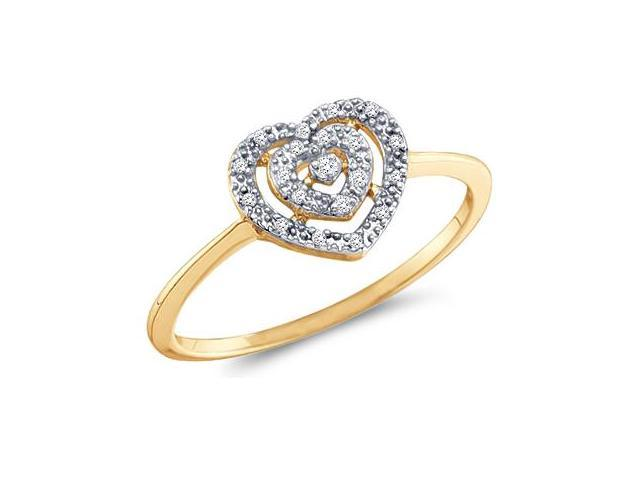 Heart Diamond Ring Fashion Band 10k Yellow Gold (0.04 Carat)