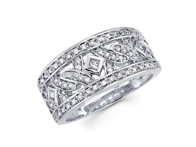 Diamond Anniversary Ring 14k White Gold Fancy Fashion Band (1/2 Carat)
