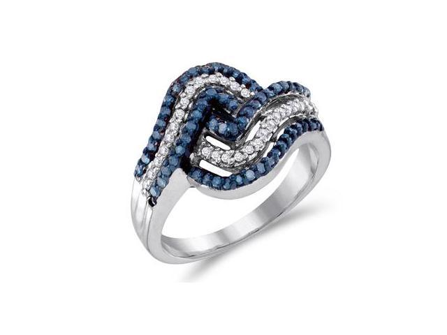 Aqua Blue Diamond Anniversary Band 10k White Gold Ring (1/2 Carat)