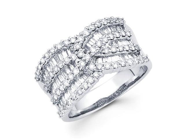 Diamond Anniversary Ring 14k White Gold Fancy Fashion Band (1.54 CTW)