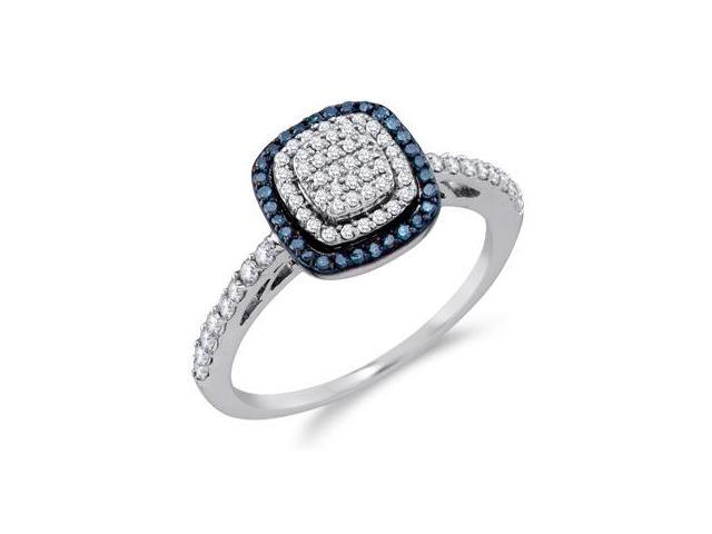 White & Aqua Blue Diamond Anniversary Ring 10k White Gold (0.43 Carat)