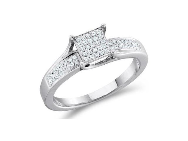 Diamond Engagement Ring Sterling Silver Anniversary Bridal (0.15 CT)