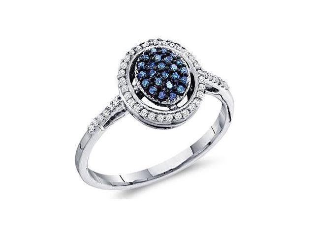 Aqua Blue Diamond Ring 10k White Gold Anniversary Cocktail (1/4 Carat)