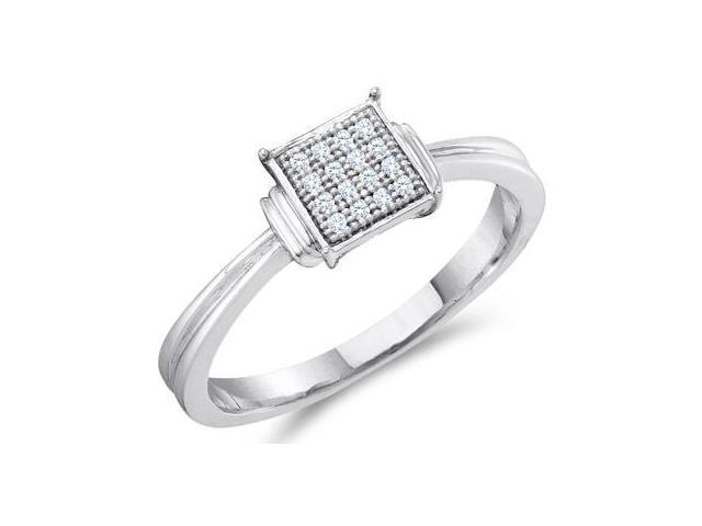 Diamond Engagement Ring Sterling Silver Anniversary Bridal (.05 Carat)