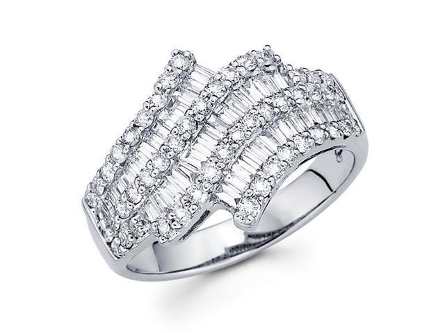 Diamond Anniversary Ring 14k White Gold Fancy Fashion Band (1.39 CTW)
