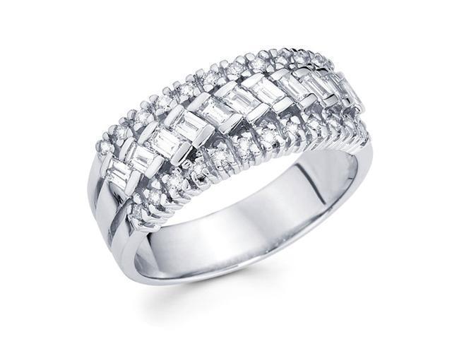 Diamond Anniversary Ring 14k White Gold Fancy Fashion Band (2/3 Carat)