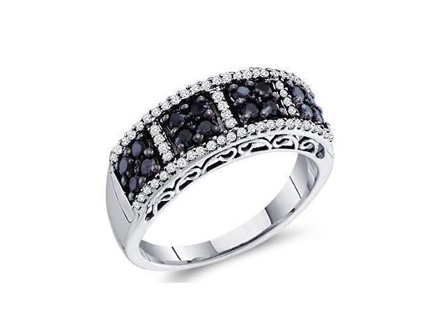 Black Diamond Band Hearts Anniversary Ring 14k White Gold (1/2 Carat)