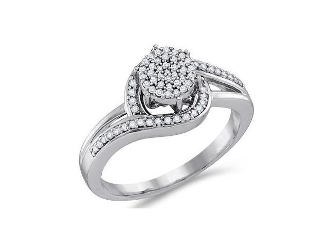 Diamond Engagement Ring 10k White Gold Anniversary Bridal (1/4 Carat)