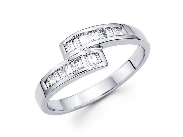 Baguette Diamond Anniversary Ring 14k White Gold Fancy Band (1/4 CTW)