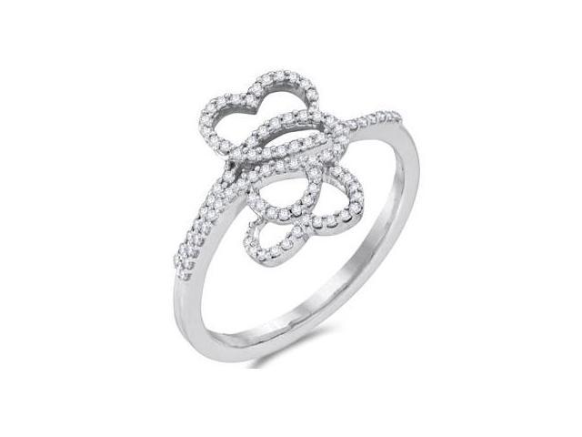 Diamond Hearts Ring 10k White Gold Love Fashion Band (1/5 Carat)