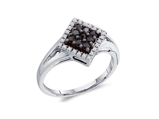 Black Diamond Ring Anniversary Band 10k White Gold Womens (1/4 Carat)