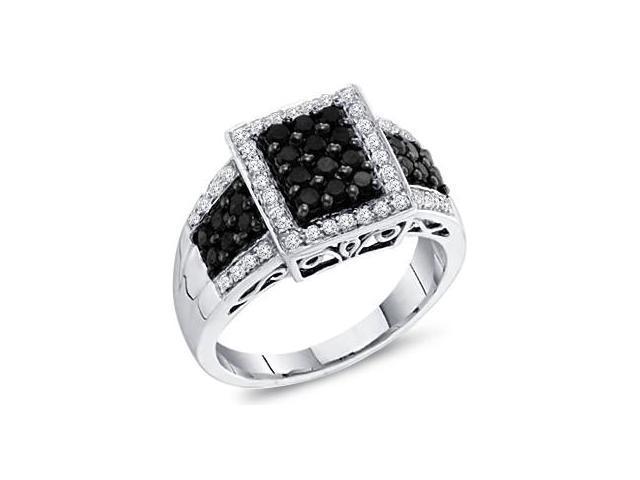 Black Diamond Ring Anniversary Band 14k White Gold Womens (2/3 Carat)