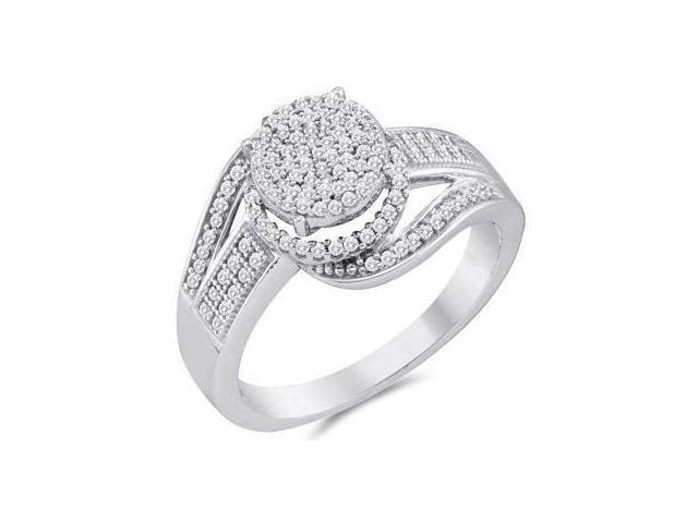 Diamond Engagement Ring Micro Pave 10k White Gold Bridal (1/3 Carat)