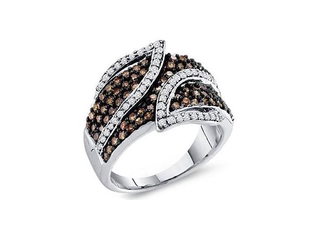 Brown Chocolate Diamond Ring Womens Band 10k White Gold (1.00 Carat)