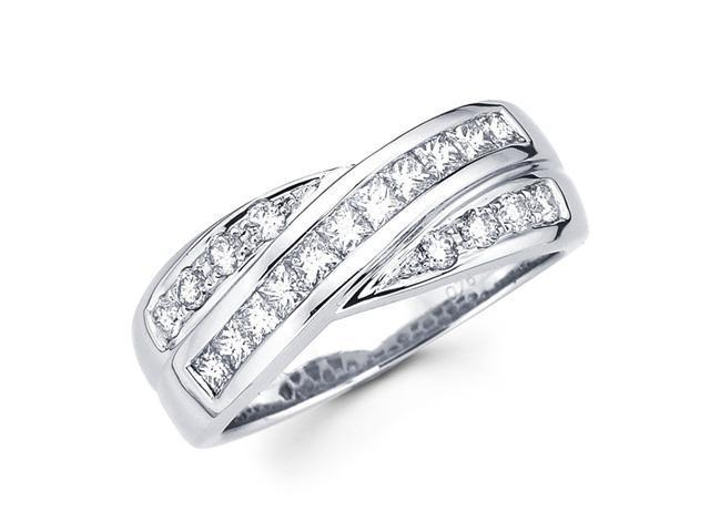 Princess Diamond Anniversary Ring 14k White Gold Fancy Band (3/4 CTW)