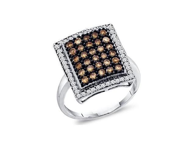 Brown Champagne Diamond Ring 10k White Gold Womens Band (1.00 Carat)