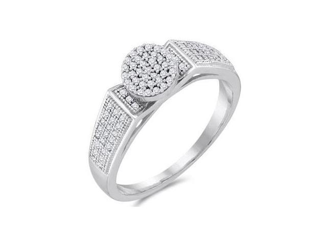 Diamond Engagement Ring Micro Pave 10k White Gold Bridal (1/4 Carat)