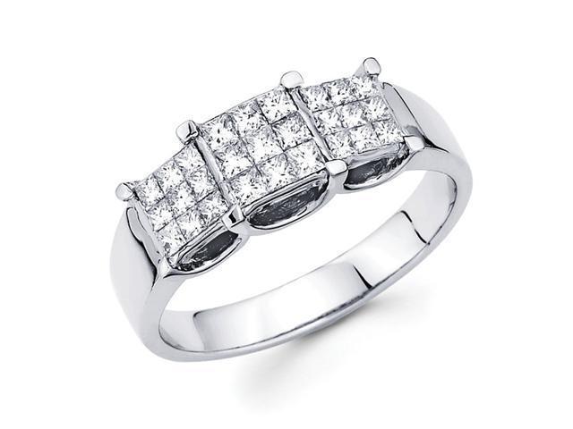 Princess Diamond Anniversary Ring 14k White Gold Three Stone (2/3 CTW)