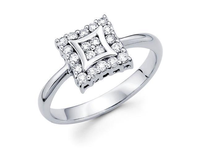 Round Diamond Anniversary Ring 14k White Gold Square Head (1/3 Carat)