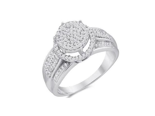 Diamond Engagement Ring Micro Pave 10k White Gold Bridal (0.40 Carat)