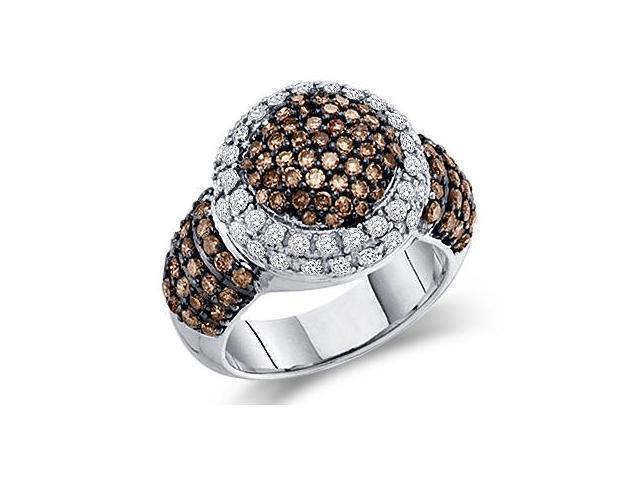 Champagne Brown Diamond Ring 10k White Gold Women's Band (2.00 Carat)