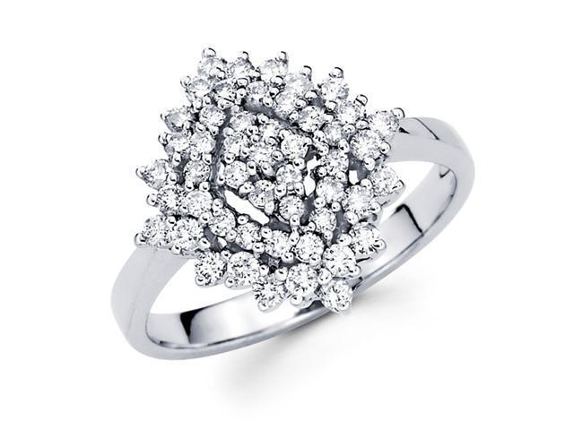 Round Diamond Anniversary Cluster Ring 14k White Gold (3/4 Carat)