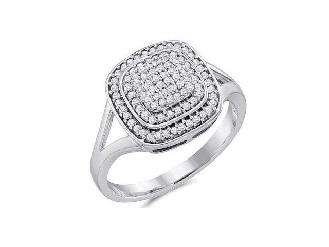 Diamond Anniversary Ring Micro Pave 10k White Gold Bridal (1/3 Carat)
