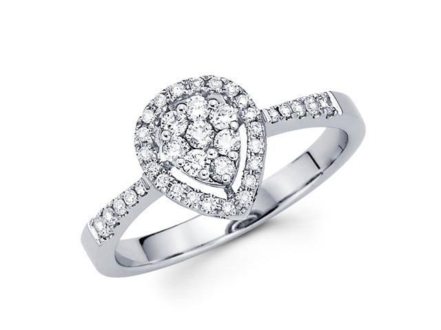 Round Diamond Anniversary Pear Shape Ring 14k White Gold Bridal 2/3 CT