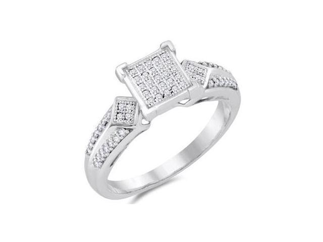 Diamond Anniversary Ring Micro Pave 10k White Gold Bridal (1/5 Carat)