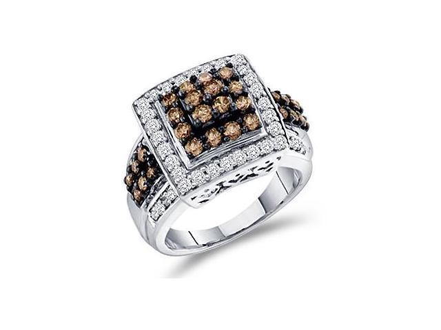 Champagne Brown Diamond Ring 10k White Gold Anniversary (1.50 Carat)