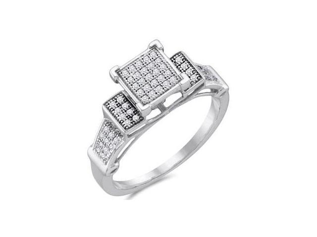 Diamond Engagement Ring Micro Pave 10k White Gold Bridal (1/5 Carat)