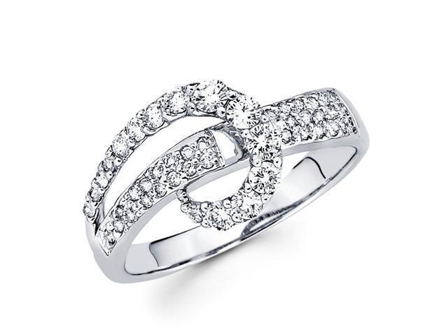 Diamond Anniversary Journey Ring 18k White Gold Bridal (0.59 Carat)