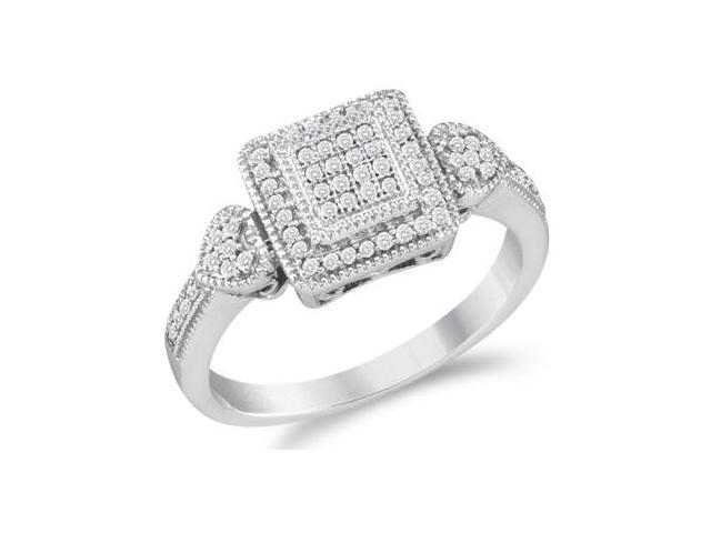 Diamond Anniversary Ring 10k White Gold Bridal Micro Pave (1/5 Carat)