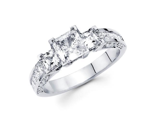 Semi Mount Three Stone Diamond Ring 14k White Gold Anniversary 1.70 CT