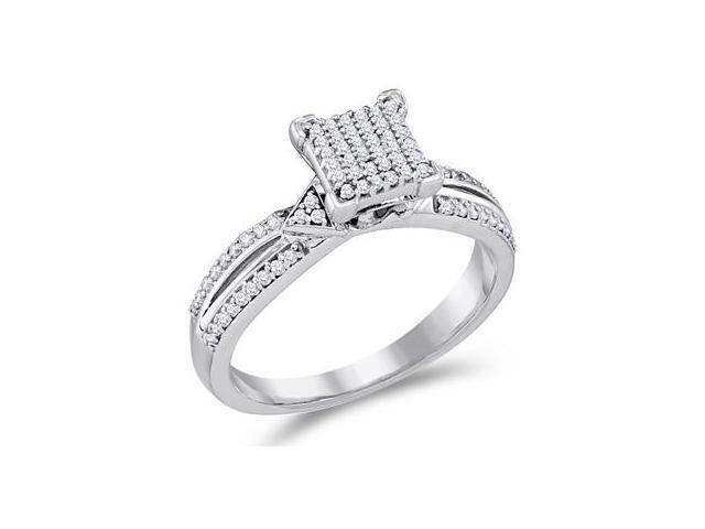 Micro Pave Diamond Engagement Ring 10k White Gold Bridal (1/4 Carat)