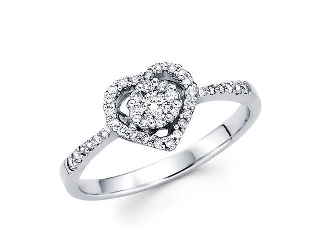 Diamond Anniversary Heart Ring 14k White Gold Fashion (0.60 Carat)