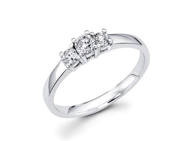 Round Three Stone Diamond Ring Anniversary 14k White Gold (1/3 Carat)
